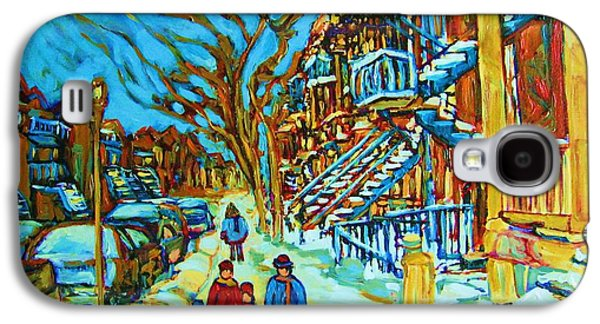 Quebec Streets Paintings Galaxy S4 Cases - Winter  Walk In The City Galaxy S4 Case by Carole Spandau