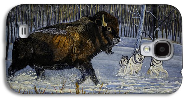Winter's Hunt  48x30x1 Inch Oil On Gallery Canvas Galaxy S4 Case