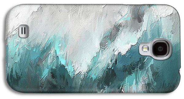 Wintery Mountain- Turquoise And Gray Modern Artwork Galaxy S4 Case