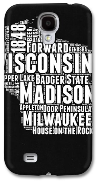 Wisconsin Black And White Word Cloud Map Galaxy S4 Case by Naxart Studio