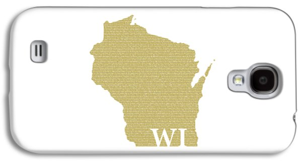 Wisconsin State Map With Text Of Constitution Galaxy S4 Case by Design Turnpike