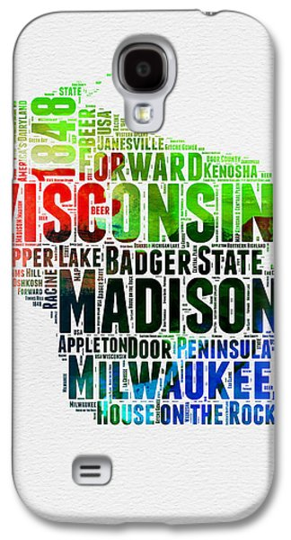 Wisconsin Watercolor Word Cloud Map  Galaxy S4 Case by Naxart Studio