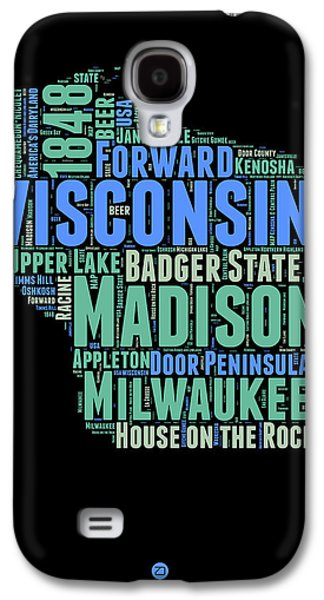 Wisconsin Word Cloud Map 1 Galaxy S4 Case by Naxart Studio