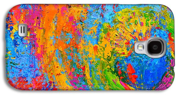 Within Circles 2 - Colorful Modern Abstract  Painting Palette Knife Work Galaxy S4 Case by Patricia Awapara