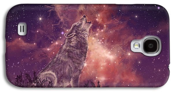Landscapes Galaxy S4 Case - Wolf And Sky Red by Bekim Art