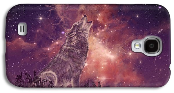 Mountain Galaxy S4 Case - Wolf And Sky Red by Bekim Art