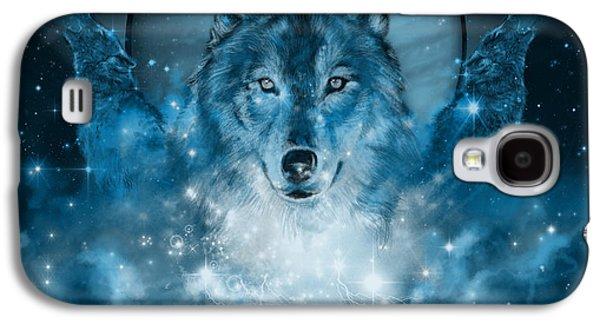 Wolf In Blue Galaxy S4 Case by Bekim Art