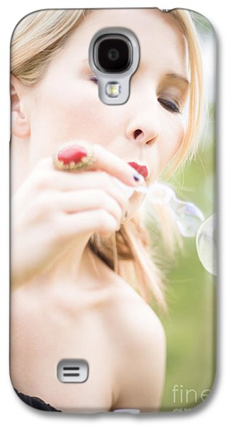 Woman Blowing Bubbles Galaxy S4 Case