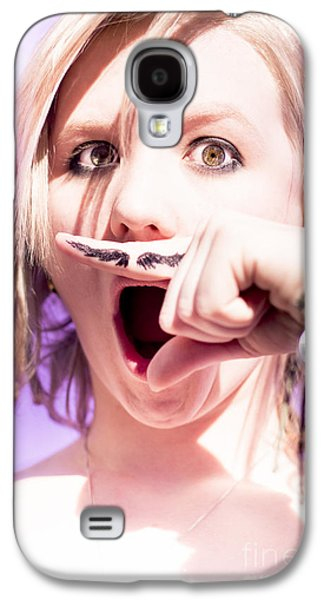 Woman Pretending Mustache Galaxy S4 Case by Jorgo Photography - Wall Art Gallery