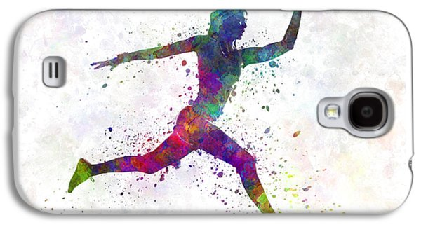 Woman Runner Running Jumping Galaxy S4 Case by Pablo Romero
