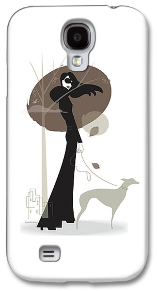 Woman Walking Dog Galaxy S4 Case