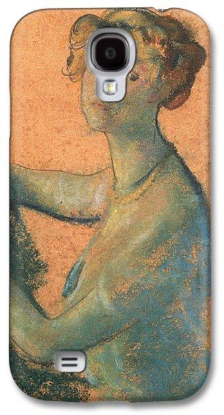 Woman With Orange Background Galaxy S4 Case by Arthur Bowen Davies