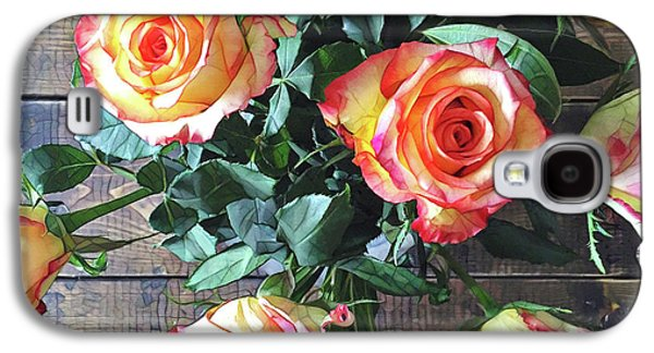 Peach Galaxy S4 Case - Wood And Roses by Shadia Derbyshire
