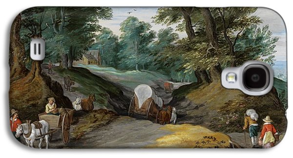 Wooded Landscape With Horses Carts And To The Market Attracting Farmers Galaxy S4 Case by Jan Brueghel the Younger
