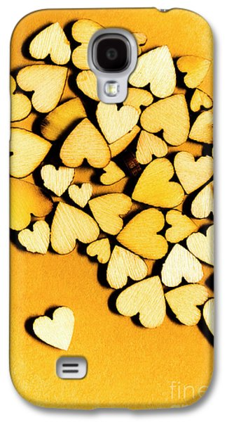 Wooden Hearts With Sentimental Single Galaxy S4 Case by Jorgo Photography - Wall Art Gallery