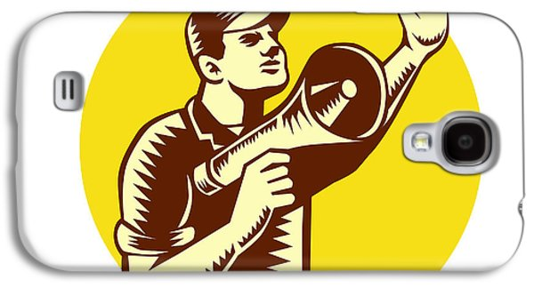 Worker Holding Megaphone Circle Woodcut Galaxy S4 Case