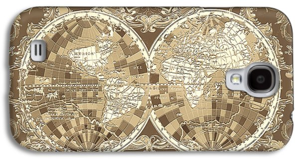 World Map Antique 3 Galaxy S4 Case by Bekim Art