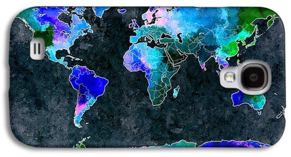 World Map Dark Grunge Galaxy S4 Case
