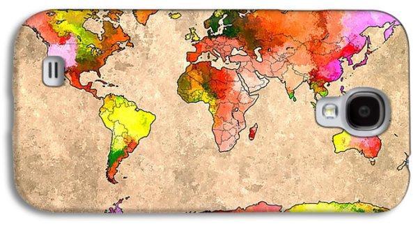 World Map Grunge Galaxy S4 Case