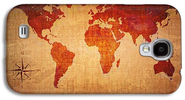 World Map Grunge Style Galaxy S4 Case by Johan Swanepoel
