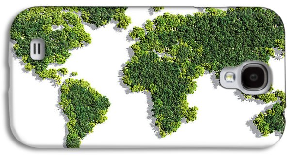 World Map Made Of Green Trees Galaxy S4 Case by Johan Swanepoel