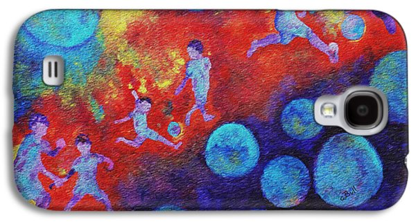 Galaxy S4 Case featuring the painting World Soccer Dreams by Claire Bull