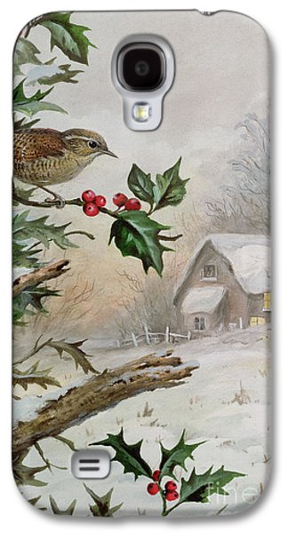 Wren Galaxy S4 Case - Wren In Hollybush By A Cottage by Carl Donner