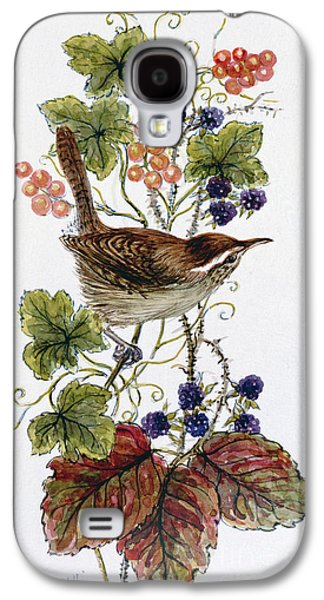 Wren On A Spray Of Berries Galaxy S4 Case by Nell Hill