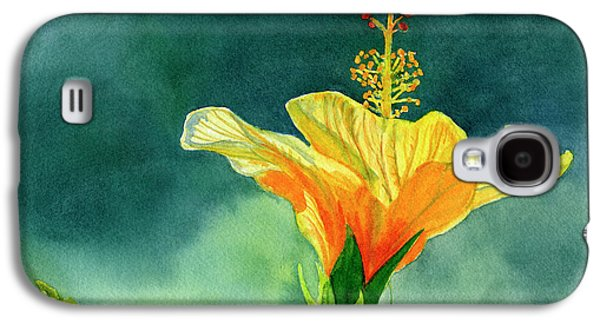 Yellow And Gold Hibiscus With Background Color Galaxy S4 Case by Sharon Freeman