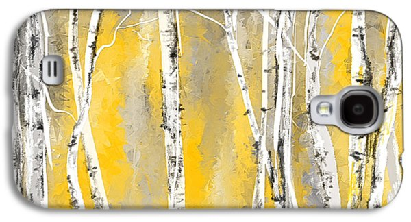 Yellow And Gray Birch Trees Galaxy S4 Case by Lourry Legarde