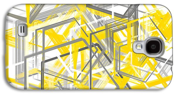 Yellow And Gray Geometric Shapes Art Galaxy S4 Case by Lourry Legarde