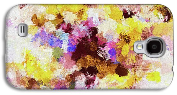 Yellow And Pink Abstract Painting Galaxy S4 Case by Ayse Deniz