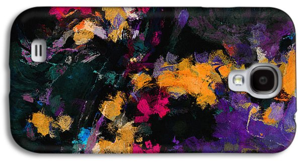 Yellow And Purple Abstract / Modern Painting Galaxy S4 Case by Ayse Deniz