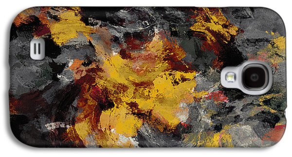 Yellow / Golden Abstract / Surrealist Landscape Painting Galaxy S4 Case