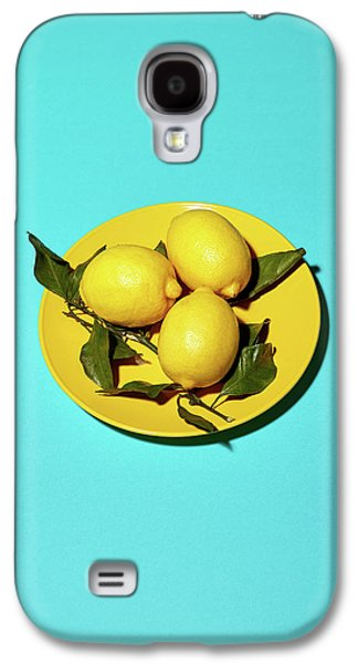 Yellow Lemons On Cyan Galaxy S4 Case by Oleg Cherneikin