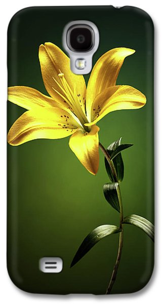 Lily Galaxy S4 Case - Yellow Lilly With Stem by Johan Swanepoel