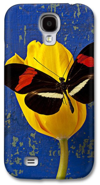 Tulip Galaxy S4 Case - Yellow Tulip With Orange And Black Butterfly by Garry Gay