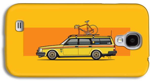 Yellow Volvo 245 Wagon With Roof Rack And Vintage Bicycle Galaxy S4 Case by Monkey Crisis On Mars