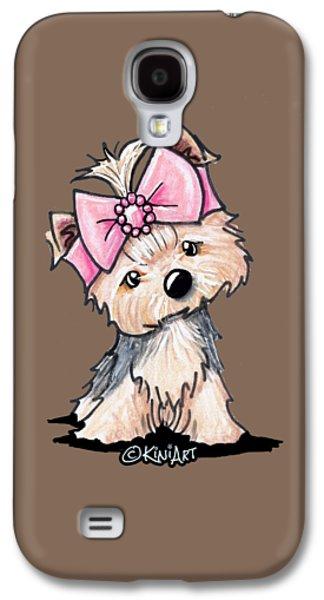 Yorkie In Bow Galaxy S4 Case by Kim Niles