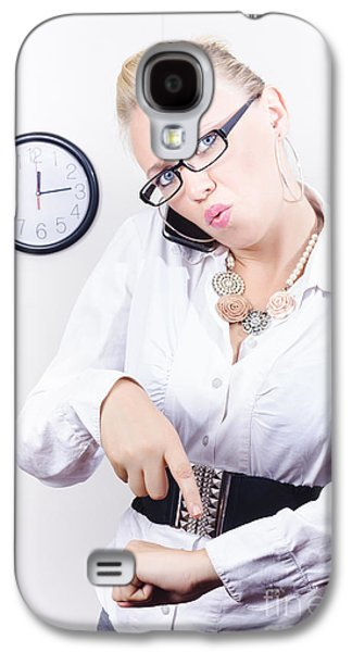 Young Angry Caucasian Woman Talking On Telephone Galaxy S4 Case by Jorgo Photography - Wall Art Gallery