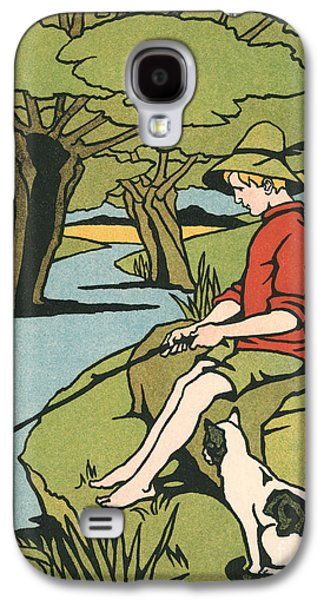 Young Boy Sitting On A Log Fishing In A Small River In The Country With His Cat Galaxy S4 Case by American School