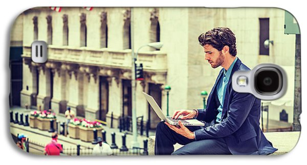 Young Businessman Working On Wall Street In New York Galaxy S4 Case
