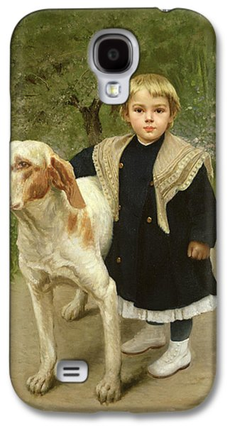 Pathway Paintings Galaxy S4 Cases - Young Child and a Big Dog Galaxy S4 Case by Luigi Toro