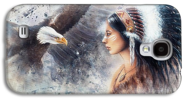 Young Indian Woman Wearing A Gorgeous Feather Headdress. With An Image  Eagle Spirits Galaxy S4 Case by Jozef Klopacka