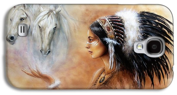 Young Indian Woman Wearing A Gorgeous Feather Headdress With An Image Of Two White Horse Galaxy S4 Case by Jozef Klopacka