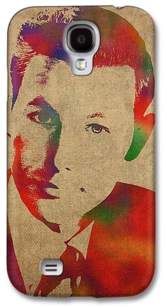 Young Johnny Carson Watercolor Portrait Galaxy S4 Case