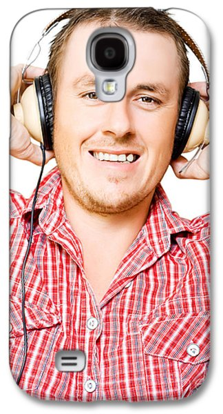Young Man Listening To Music Through Earphones Galaxy S4 Case by Jorgo Photography - Wall Art Gallery