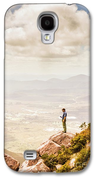 Young Traveler Looking At Mountain Landscape Galaxy S4 Case by Jorgo Photography - Wall Art Gallery