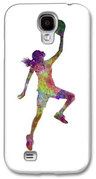 Young Woman Basketball Player 02 In Watercolor Galaxy S4 Case