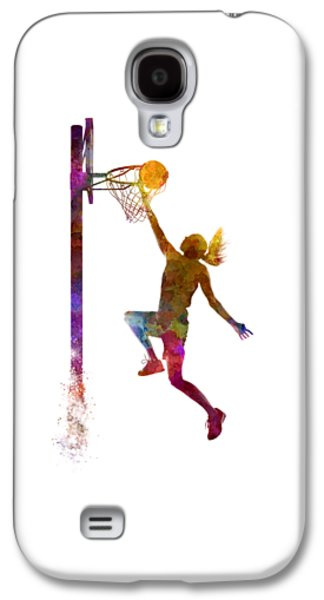Young Woman Basketball Player 04 In Watercolor Galaxy S4 Case